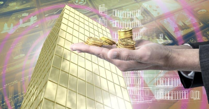 Wręcza mienie pieniądze i Mieści z pieniężnym ekonomicznym tłem fotografia royalty free