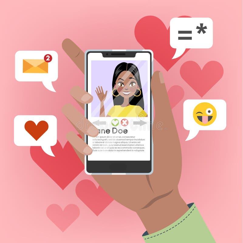 Wręcza mienie telefon komórkowego z żeńską osobą na ekranie ilustracja wektor