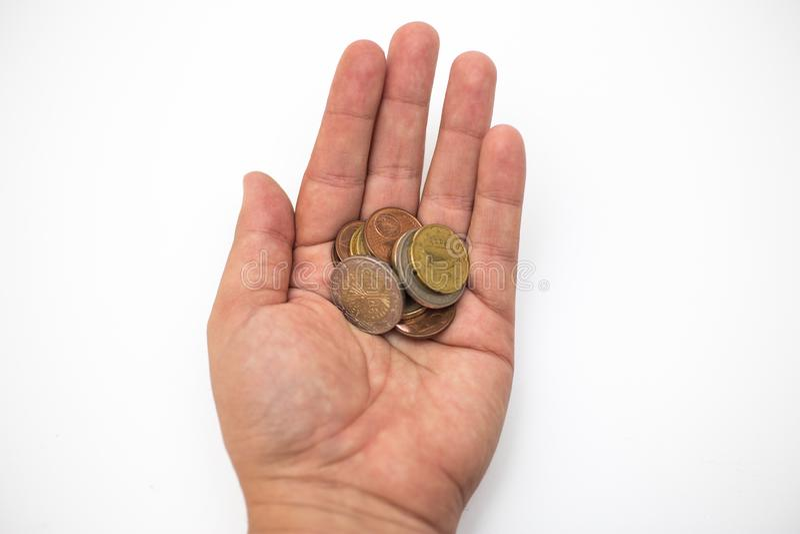 Wręcza mieniu Euro banknoty i monety na białym tle - pieniądze, Pieniężny, ratujący, Wzrostowy pojęcie obraz royalty free