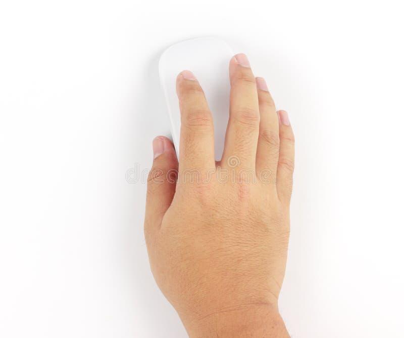 Wręcza mieniu Komputerowej bezprzewodowej myszy odizolowywającej na białym backgroun zdjęcia stock