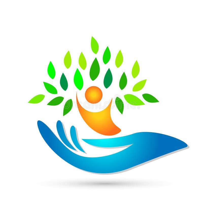 Wręcza mieniu ludzkiego drzewnego opieki zdrowotnej wellness medyczna logo ikona na białym tle ilustracja wektor