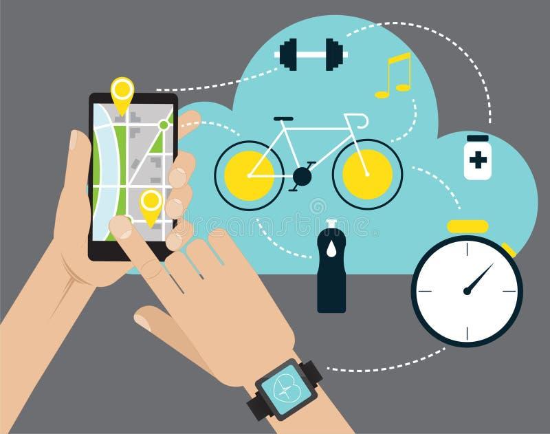 Wręcza mieniu mobilnego mądrze telefon app z śladem wystawiającym royalty ilustracja