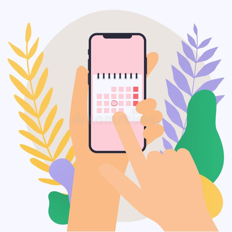 Wręcza mieniu mobilnego mądrze telefon z kalendarzowym planem Wektorowy moder ilustracja wektor