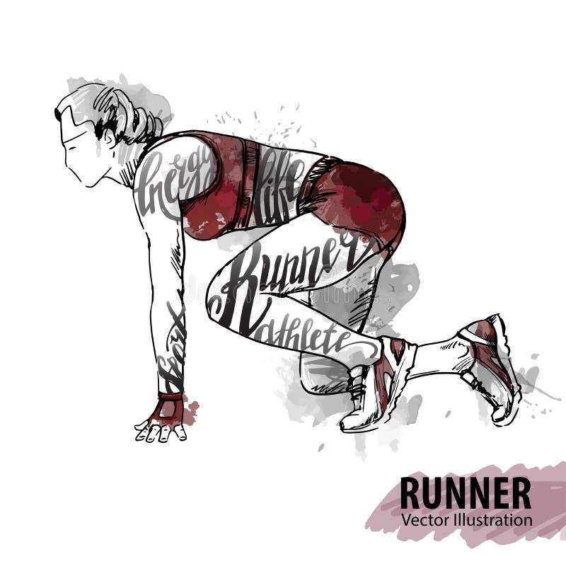 Wręcza nakreślenie kobieta biegacz przygotowywający początek Wektorowa sport ilustracja ilustracja wektor
