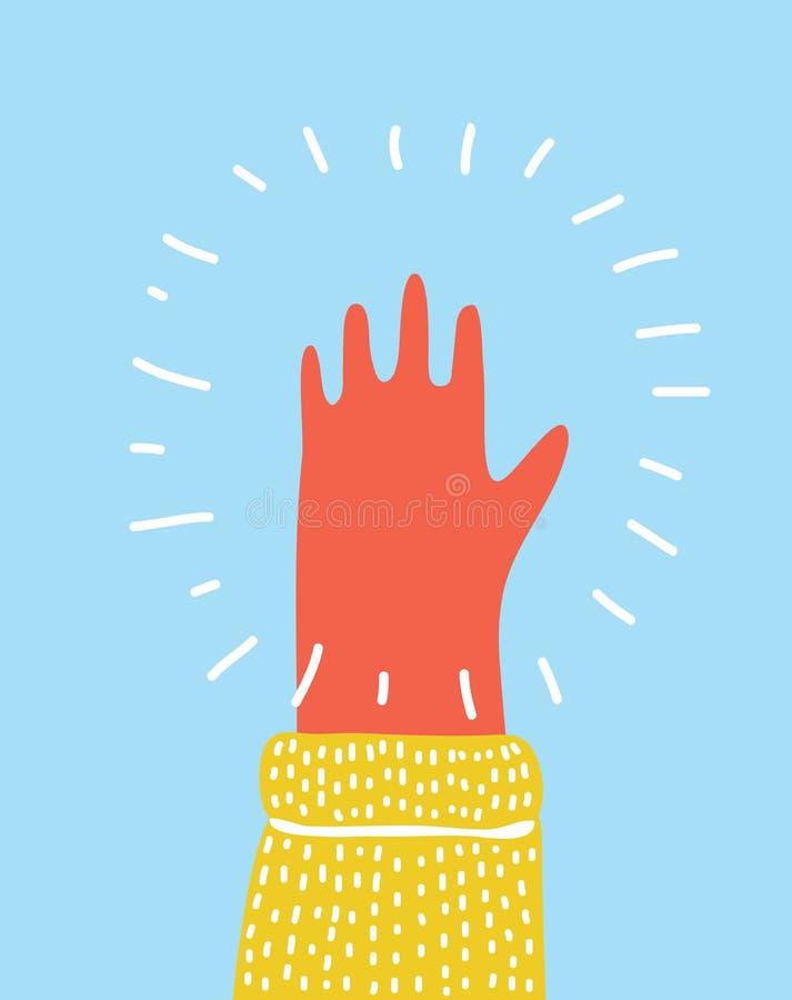Wręcza nastroszonej palmy w kierunku widza, rozciągającego out pięć palców royalty ilustracja