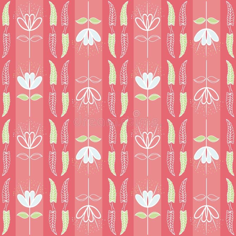 Wręcza niedokończonych liście i kwiaty błękitnych i zielonych Bezszwowy pionowo geometryczny wektoru wzór na pasiastym koralu ilustracji