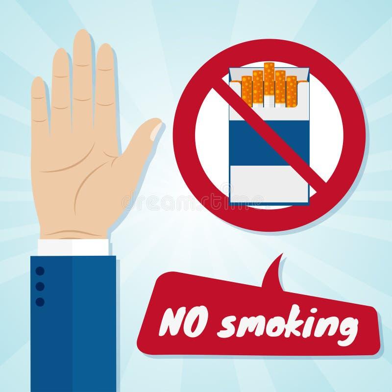 Wręcza odrzucać propozycja dym od paczki w ręce Palenie zabronione pojęcie royalty ilustracja