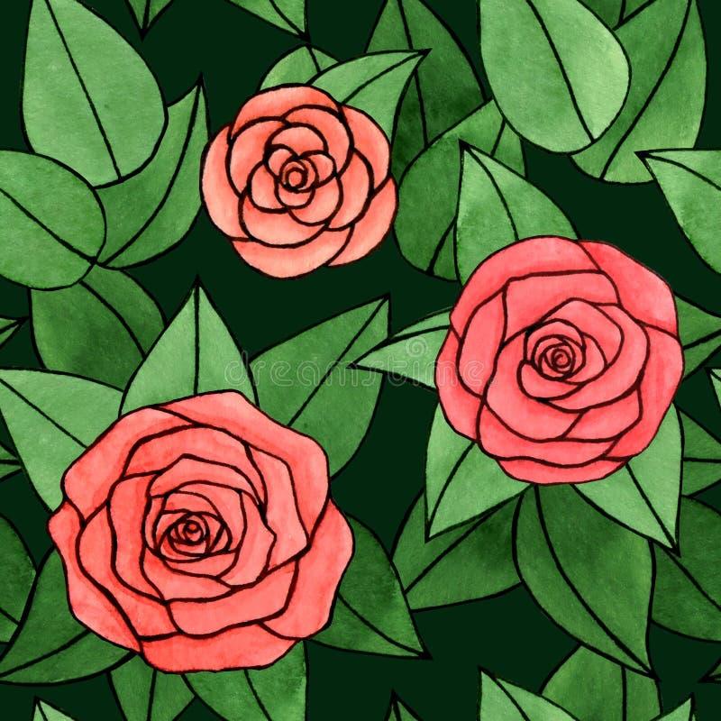Wręcza patroszoną abstrakcjonistyczną akwarelę i atrament wzrastał z liścia bezszwowym wzorem na ciemnozielonym tle ilustracja wektor