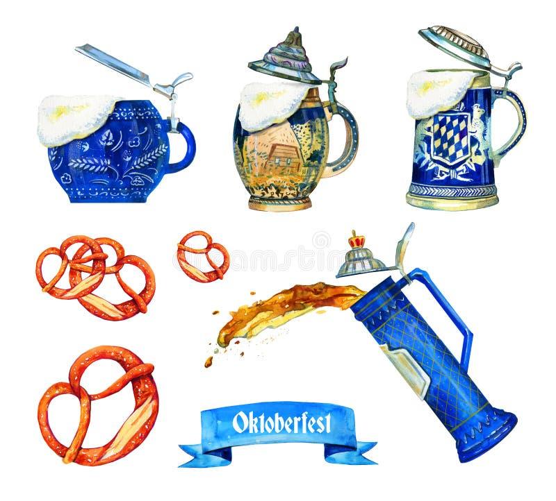 Wręcza patroszoną akwarelę ustawiającą dla oktoberfest z różnego bavarian piwnymi ceramicznymi kubkami, brezels ang flaga ilustracji