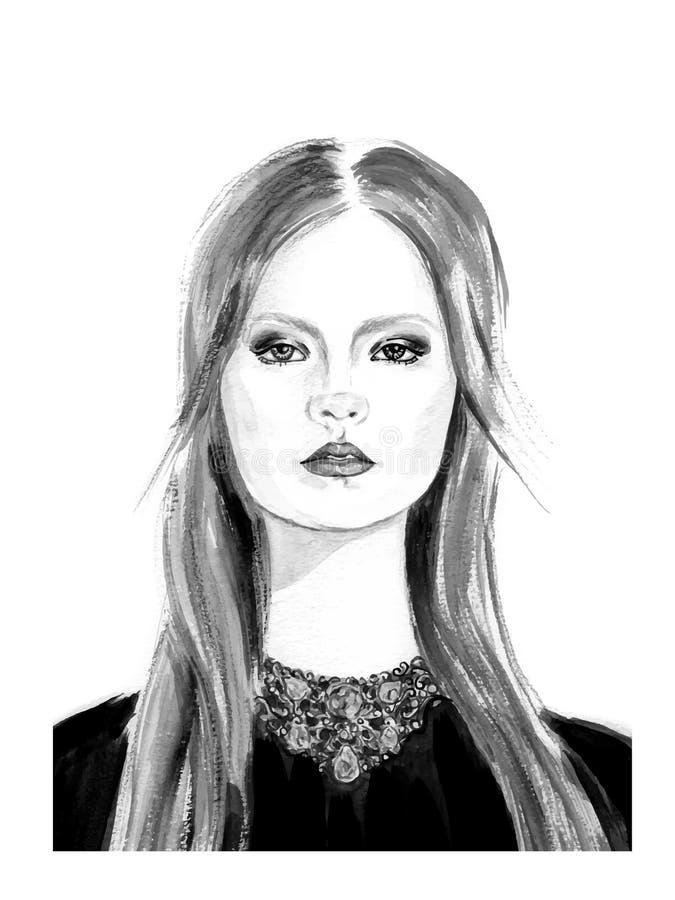 Wręcza patroszoną akwareli ilustrację młoda piękna dziewczyna ilustracji