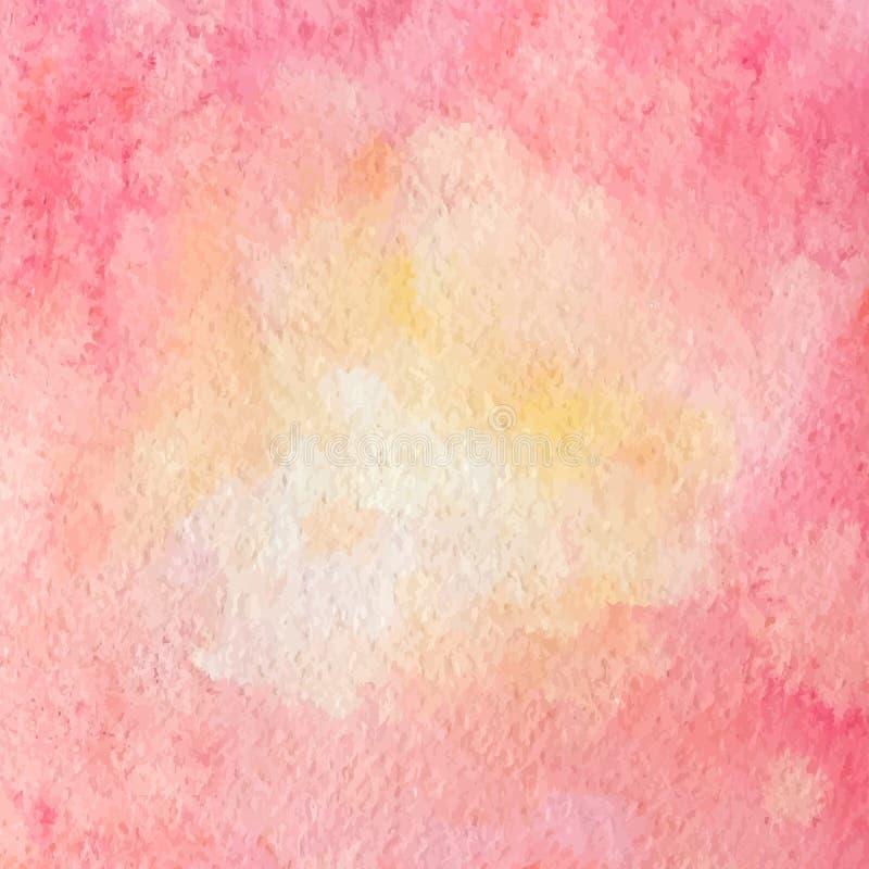 Wręcza patroszoną akwareli teksturę czerwieni, purpur i koloru żółtego kolory, wektor ilustracji