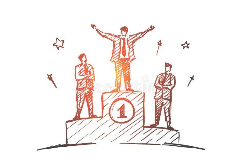 Wręcza patroszoną biznesmen pozycję na pierwszy miejscu ilustracja wektor