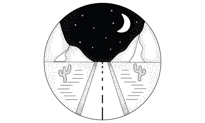 Wręcza patroszoną czarny i biały linię i kropkuje sztuka logo okręgu krajobrazu ilustrację ilustracji