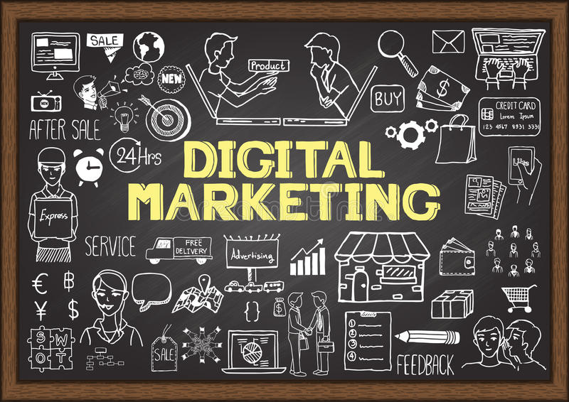 Wręcza patroszoną ewidencyjną grafikę na chalkboard z cyfrowym marketingowym pojęciem royalty ilustracja
