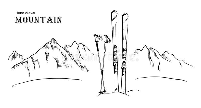 Wręcza patroszoną górę i nartę graficzna czarna bielu krajobrazu wektoru ilustracja royalty ilustracja