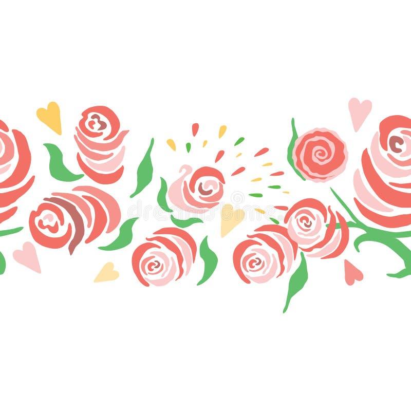 Wręcza patroszoną horyzontalną bezszwową winietę z czerwienią i różowi róże odizolowywać na białym tle royalty ilustracja