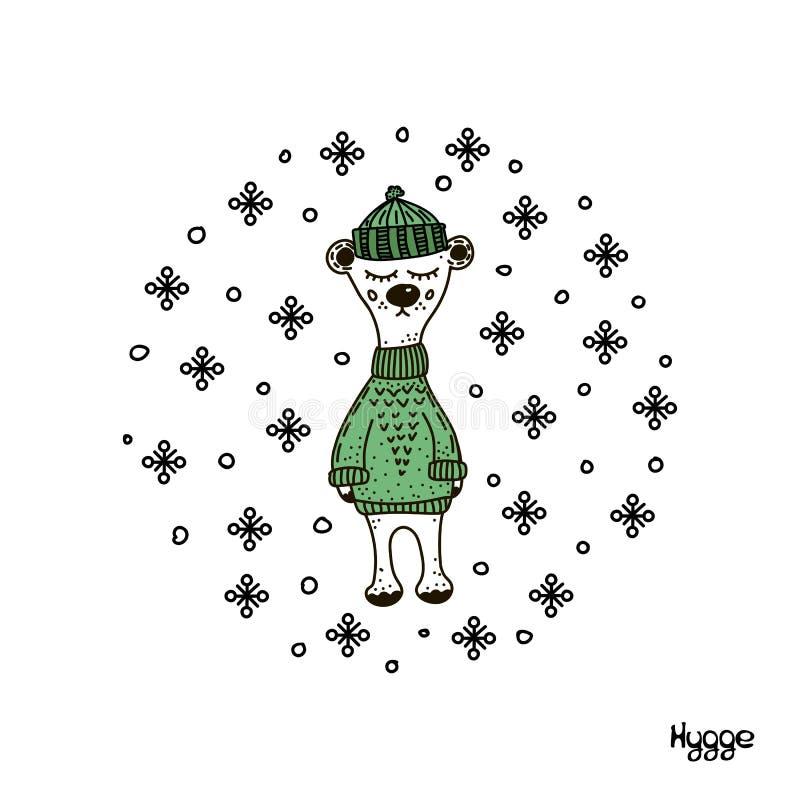 Wręcza patroszoną ilustrację śliczny śmieszny niedźwiedź w zielonym trykotowym pulowerze i kapeluszu Na bia?y tle odosobneni prze ilustracja wektor