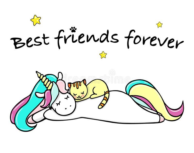 Wręcza patroszoną ilustrację magiczny kot i jednorożec przyjaciele zawsze najlepsze Wektor odosobniona ilustracja ilustracja wektor
