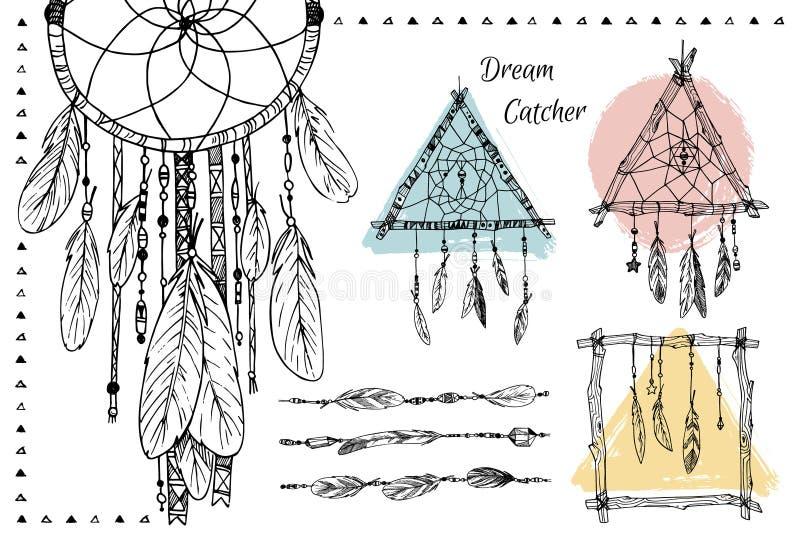 Wręcza patroszoną ilustrację - set Wymarzeni łapacze plemienny projektu royalty ilustracja