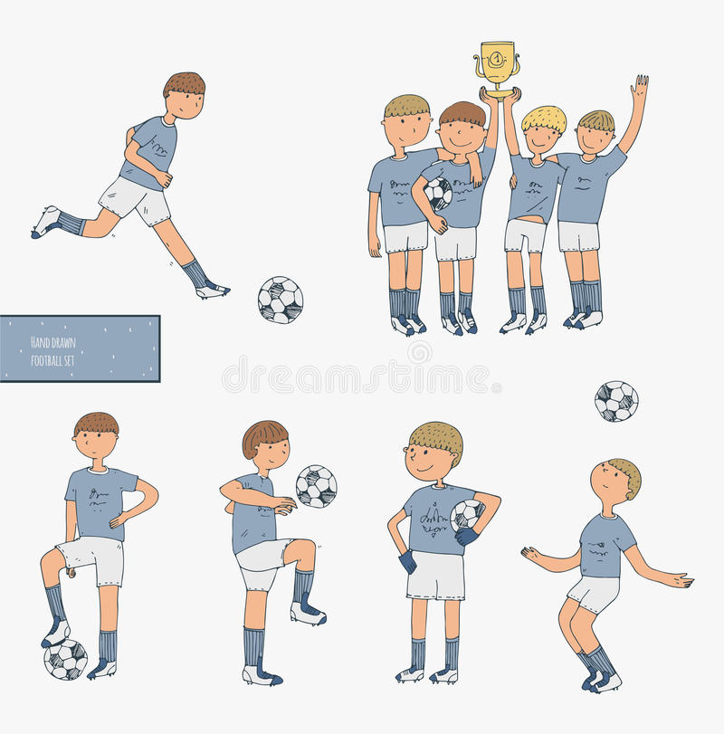 Wręcza patroszoną ilustrację z graczami piłki nożnej, odizolowywającymi na białym tle Futbolowy materiał, szczęśliwa wygrana druż ilustracji