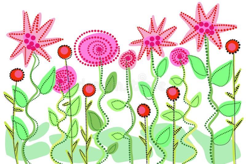 Wręcza patroszoną kwiecistą ogrodową fantazję, r kwitnie dla sztuki tła ilustracja wektor