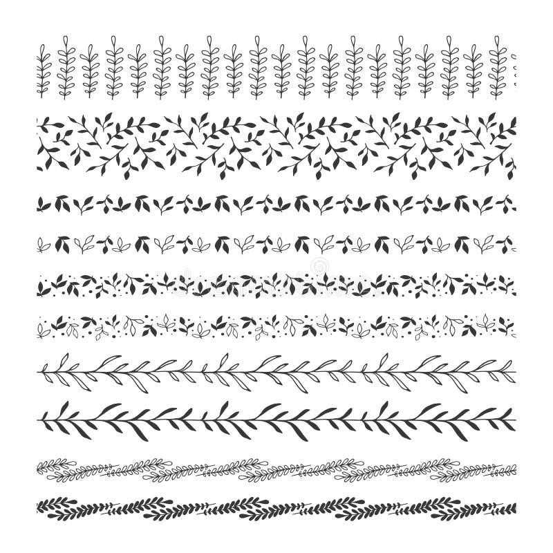 Wręcza patroszoną kwiecistego liścia klamerki sztukę, granicy, dividers, wzorów muśnięcia ilustracja wektor
