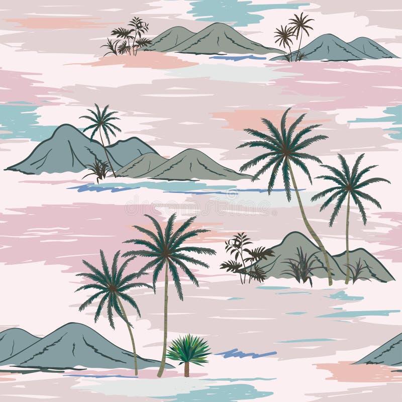 Wręcza patroszoną natury wyspę na słodkim pastelowym trybowym bezszwowym wzorze dla dekoracyjnego, mody, tkaniny, tkaniny, druku  ilustracji
