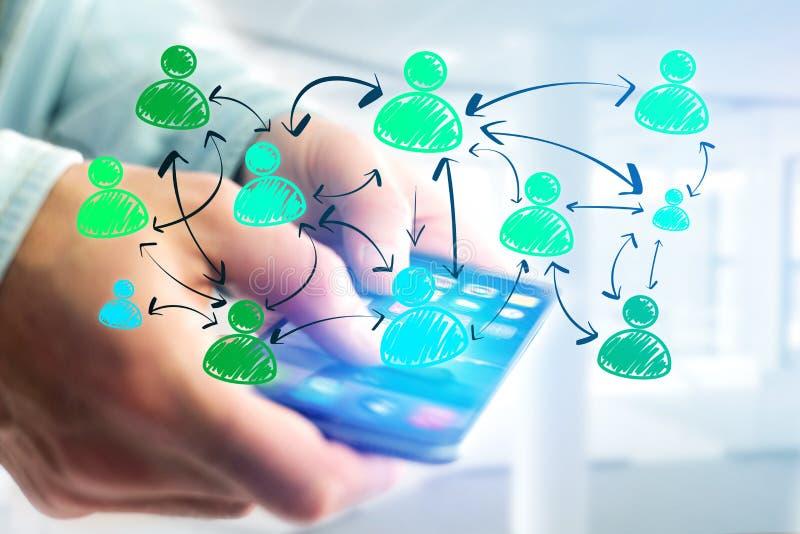 Wręcza patroszoną ogólnospołeczną sieci ikonę iść out smartphone interfejs ilustracji