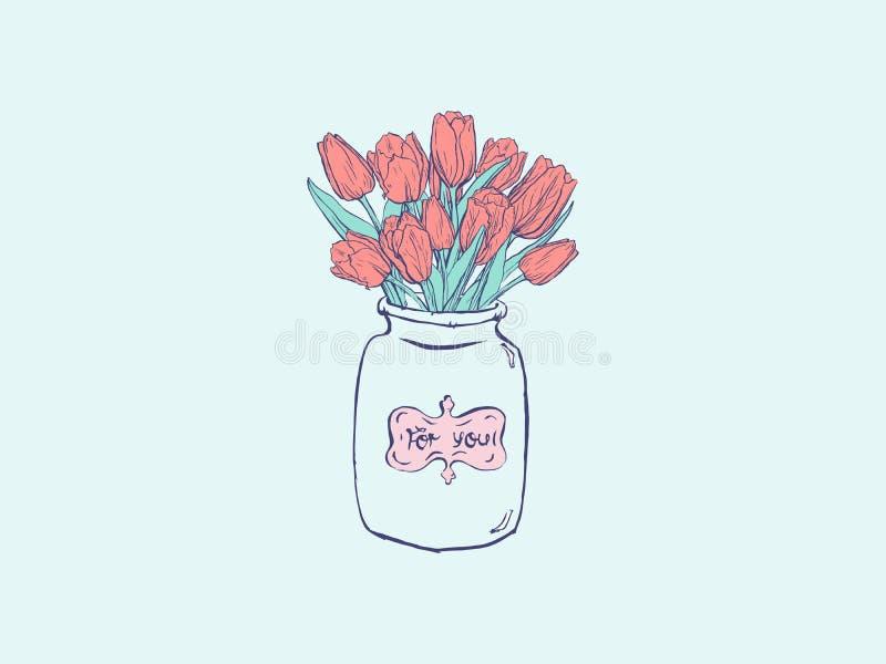 Wręcza patroszoną płaską ilustrację z wazą i tulipanami na błękitnym tle royalty ilustracja