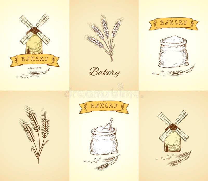 Wręcza patroszoną piekarnię i banatki odizolowywać ikony ustawiających ilustracji