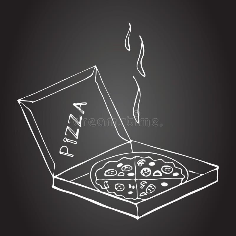 Wręcza patroszoną pizzę w pudełku na chalkboard royalty ilustracja