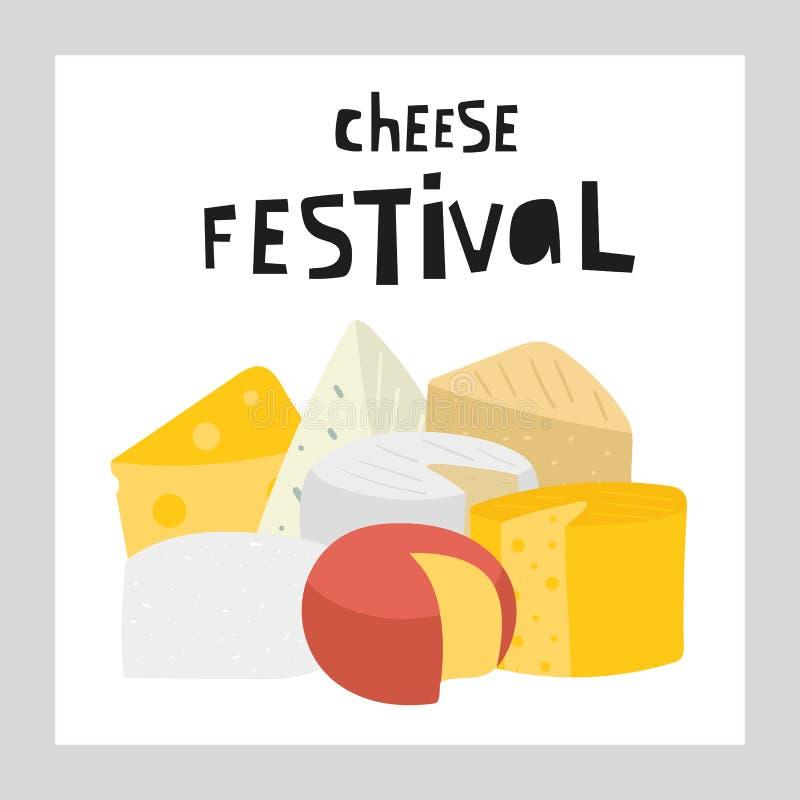 Wręcza patroszoną serową kolekcję wliczając feta, mozzarella, szwajcar, roquefort, edam, maasdam, parmesan, cheddar, brie royalty ilustracja