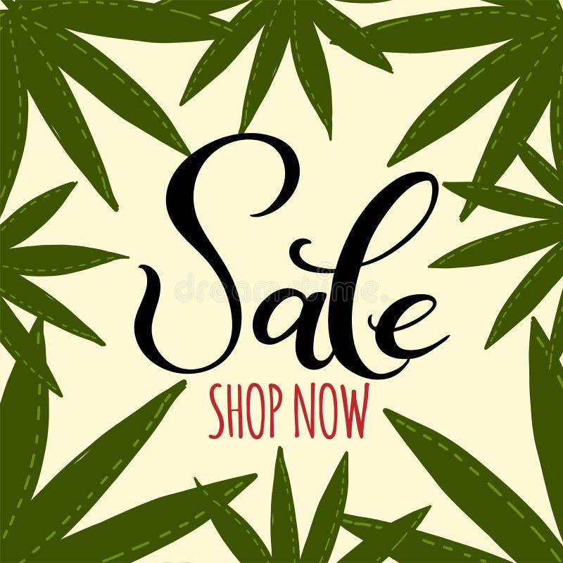 Wręcza patroszoną tekst sprzedaż i kreśli stylowych tropikalnych drzewko palmowe liście ilustracji