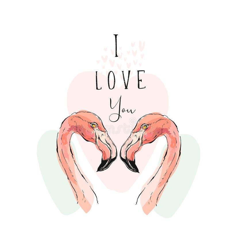 Wręcza patroszoną wektorową abstrakcjonistyczną tropikalną romantyczną ilustrację z parą dwa różowego flaminga i nowożytnej kalig royalty ilustracja