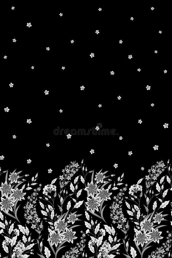 Wręcza patroszoną wektorową bezszwową granicę dzicy kwiaty, ziele i jagody, Cienkie delikatne linie różne rośliny - bacy royalty ilustracja