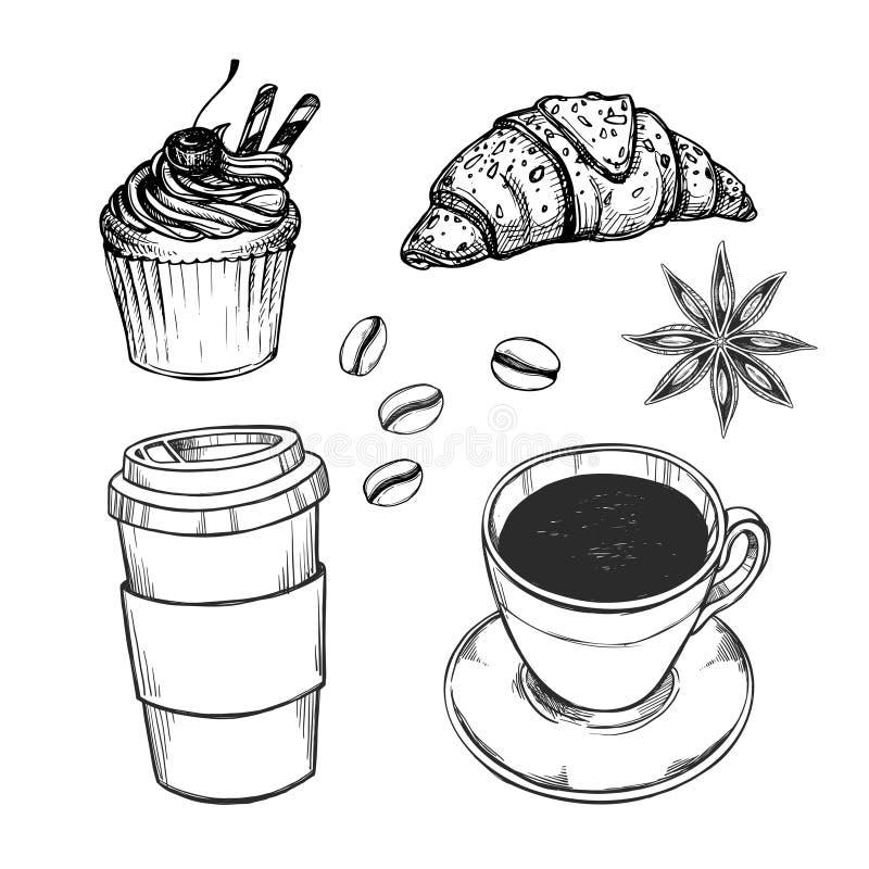 Wręcza patroszoną wektorową ilustrację - kawa ustalony croissant, babeczka, royalty ilustracja