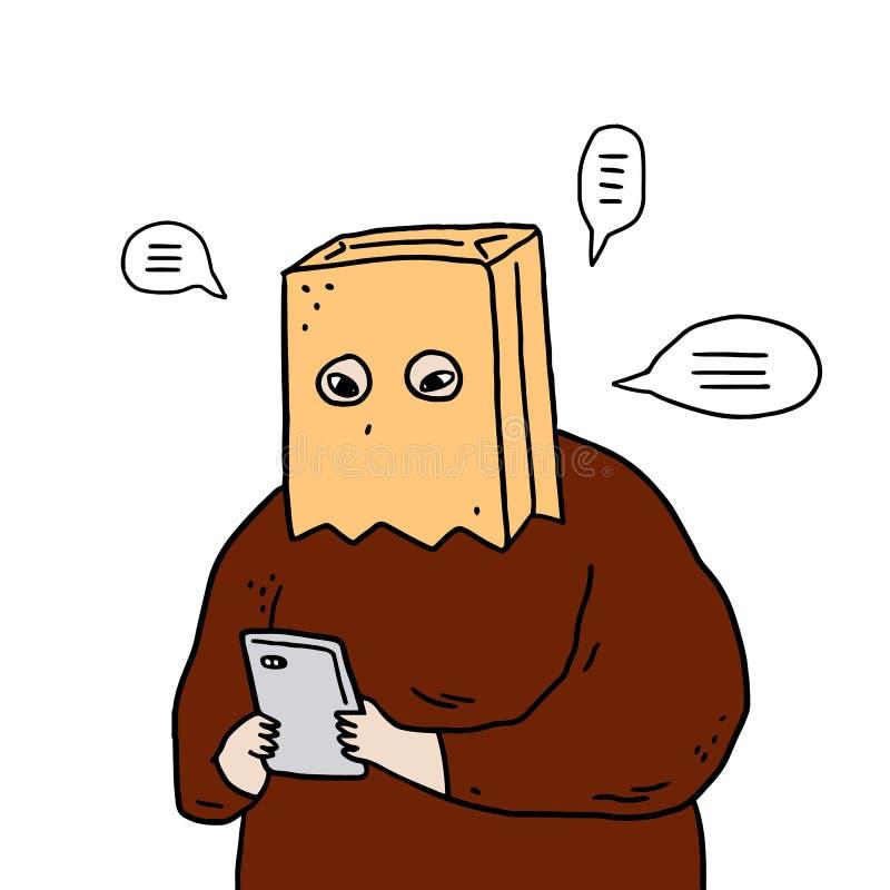 Wręcza patroszoną wektorową ilustrację mężczyzna z papierowej torby koszt stały używać smartphones ilustracja wektor