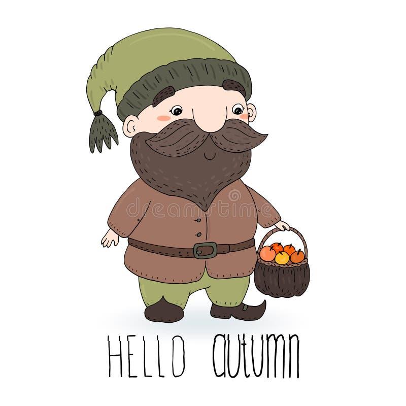 Wręcza patroszoną wektorową ilustrację z ślicznym kreskówka gnomem Cześć jesieni karta ilustracji