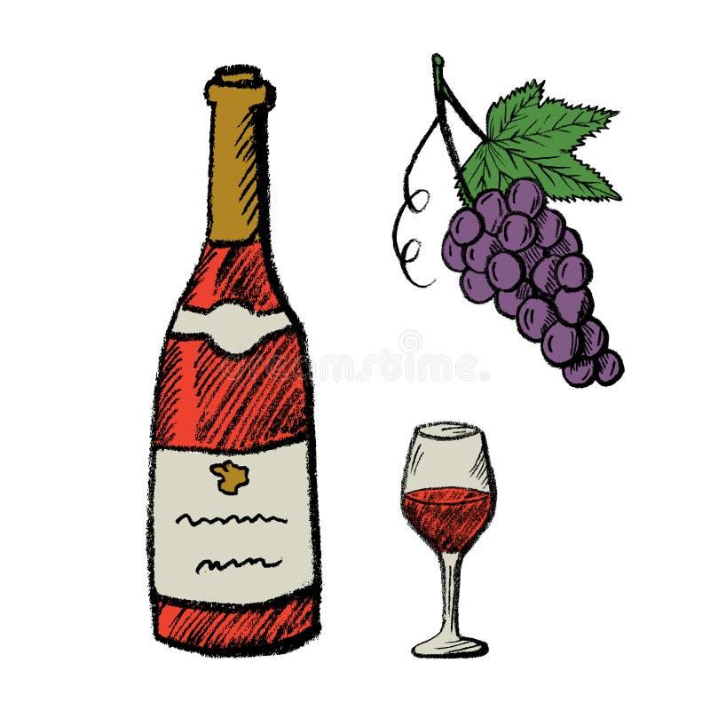 Wręcza patroszoną wino butelkę, szkło i winogrona, royalty ilustracja