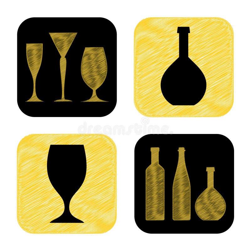 Wręcza patroszoną wino butelki i szkła ikony kolekcję ilustracja wektor