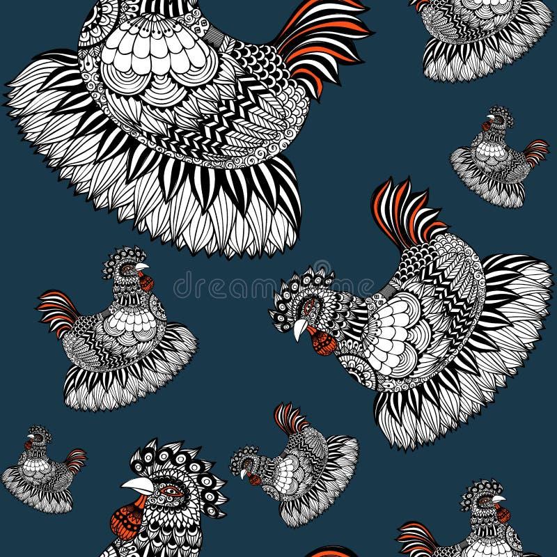 Wręcza patroszoną Zen sztukę kurczak w bezszwowym wzorze ilustracja wektor