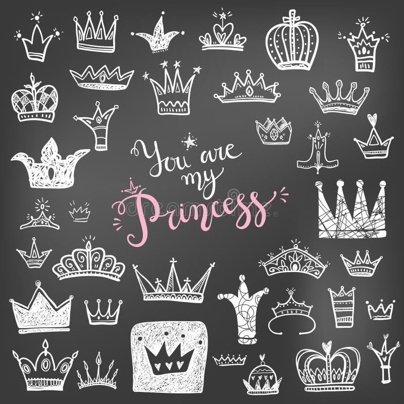 Wręcza patroszone Różnorodne korony ustawiać, wektorowy ilustracyjny doodle śliczny s royalty ilustracja