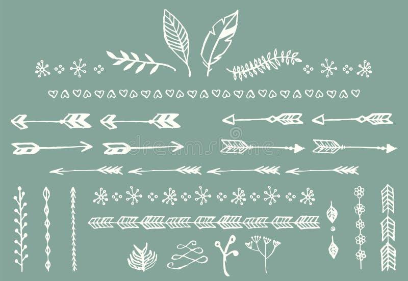 Wręcza patroszone rocznik strzała, piórka, dividers i kwiecistych elementy, royalty ilustracja