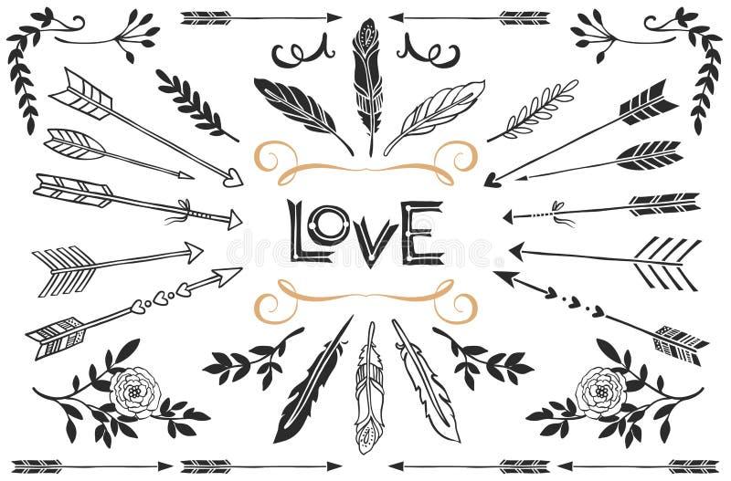 Wręcza patroszone rocznik strzała, upierza i kwitnie z literowaniem, ilustracji