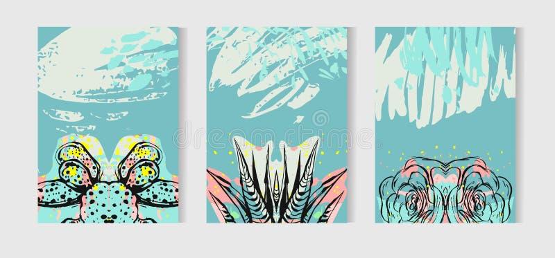 Wręcza patroszone wektorowe tropikalne karty ustawiającą kolekcję z sukulentami i kaktus roślinami Skandynaw stylowa ilustracja ilustracji