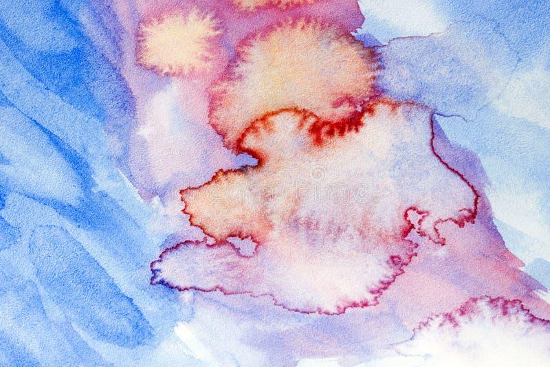 Wręcza patroszonego abstrakcjonistycznego akwareli tło, oryginalnego waldorf mokry obraz Lekcja dla beginners, artysta, uczeń, uc ilustracji