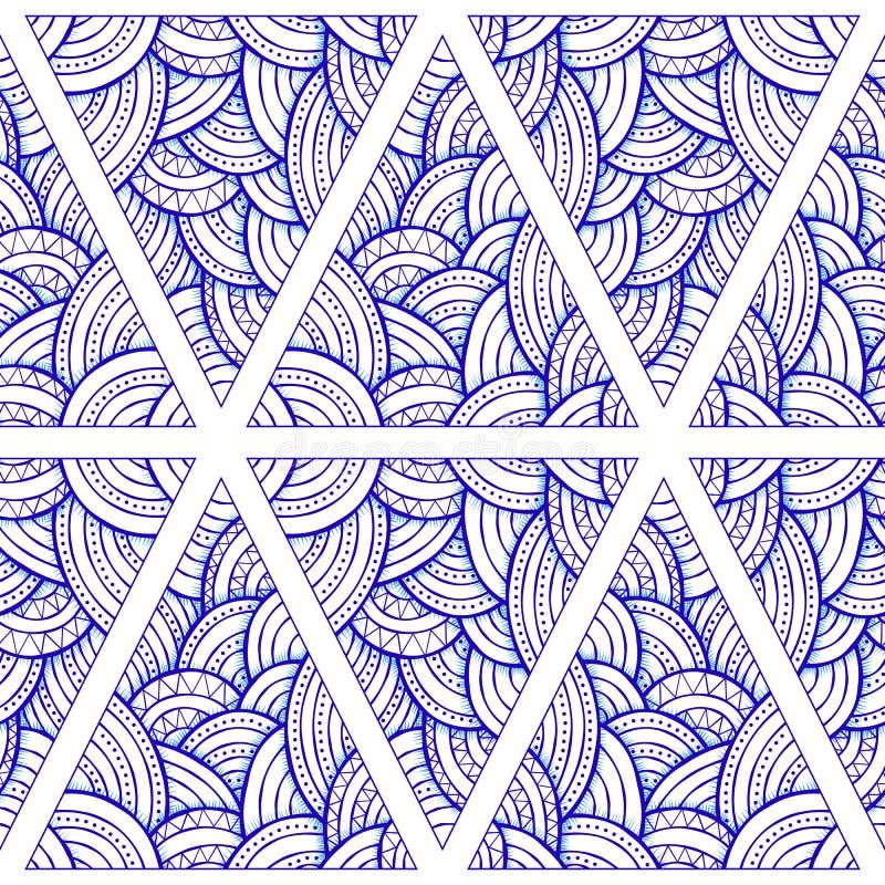 Wręcza patroszonego abstrakcjonistycznego bezszwowego wzór, etniczny dekoracyjny trójbok ilustracja wektor