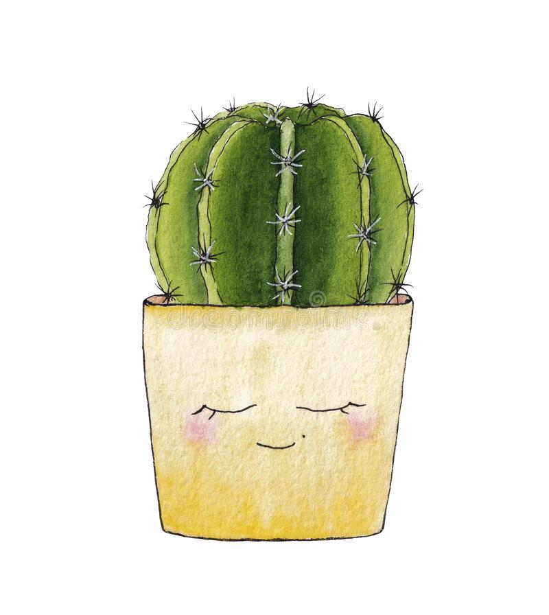 Wręcza patroszonego akwarela kaktusa w żółtym kwiatu garnku ilustracja wektor