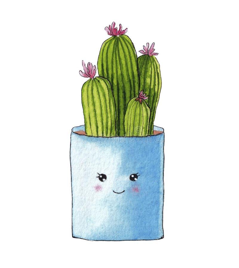 Wręcza patroszonego akwarela kaktusa w błękitnym kwiatu garnku ilustracji
