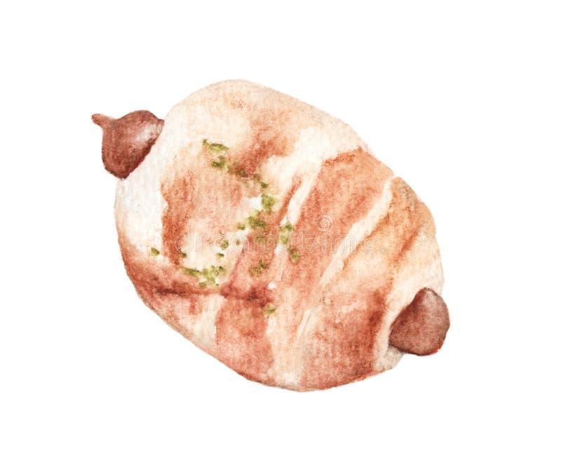 Wręcza patroszonego akwarela obraz Kiełbasiana rolka, chleb z kiełbasą, kiełbasa w cieście ilustracji